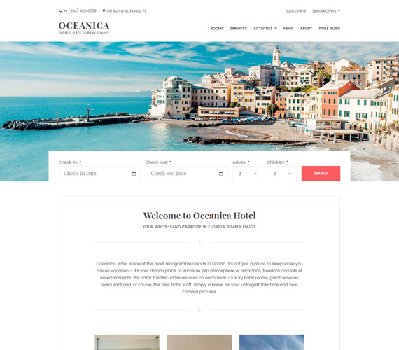Oceanica – Hotel Booking WordPress Theme