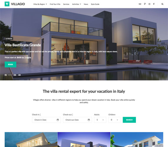 Villagio Property Rental WordPress Theme