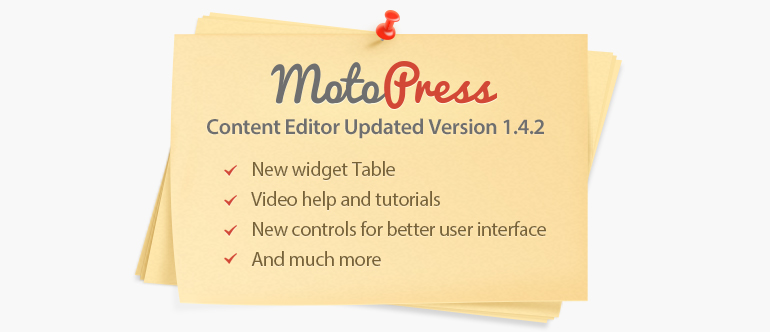 MotoPress visual editor version 1.4.2