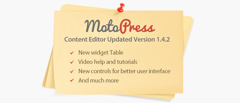 MotoPress visual editor version 1.4.2