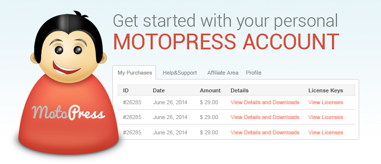 Personal MotoPress account