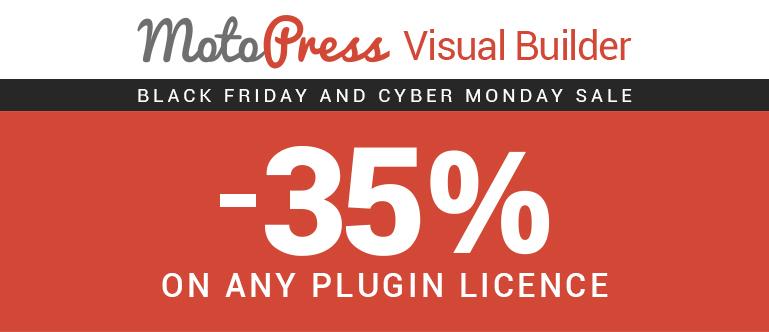MotoPress Black Friday visual builder for WordPress discount