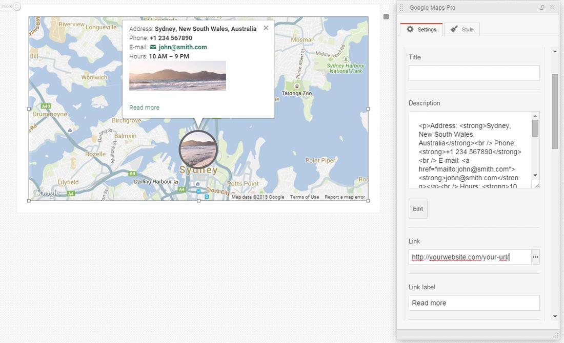 Google maps markers description