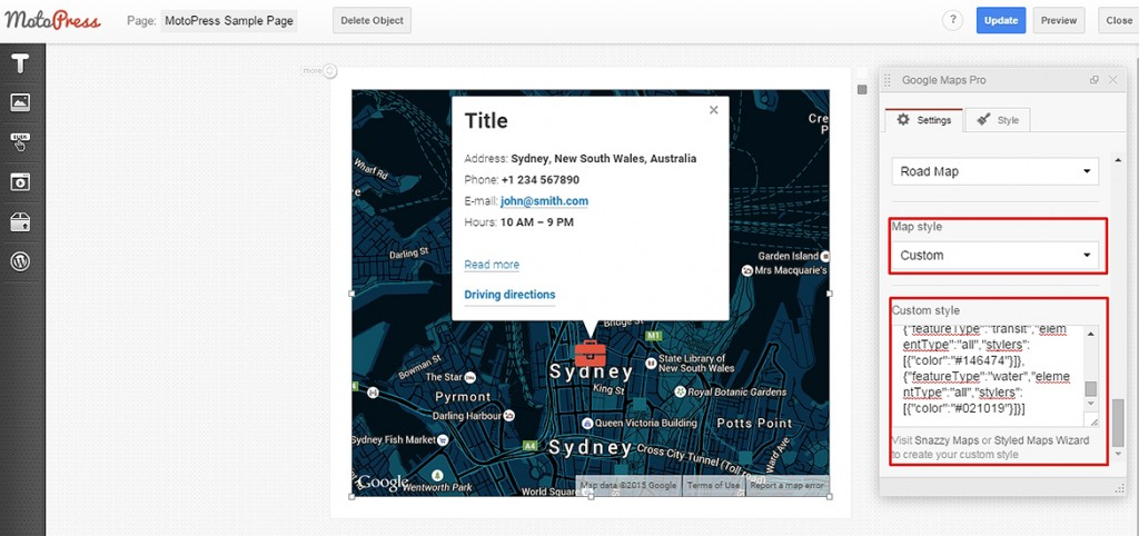 google maps paste style
