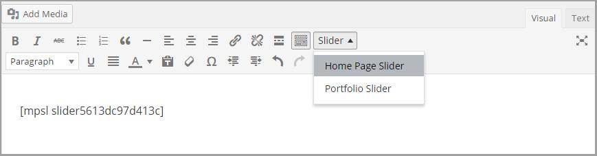 select slider from wordpress editor