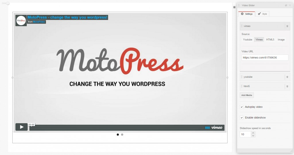 MotoPress Video Slider widget