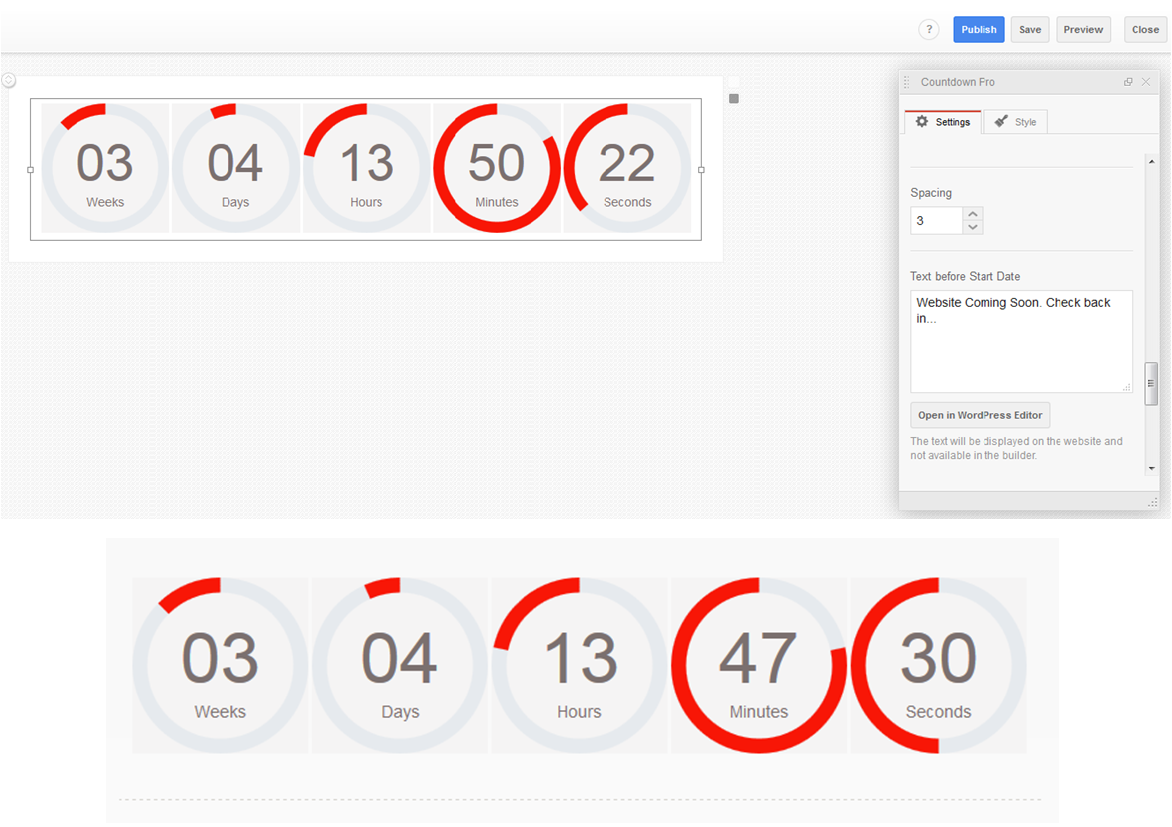 An example of the customized Countdown Timer Pro (circular style)