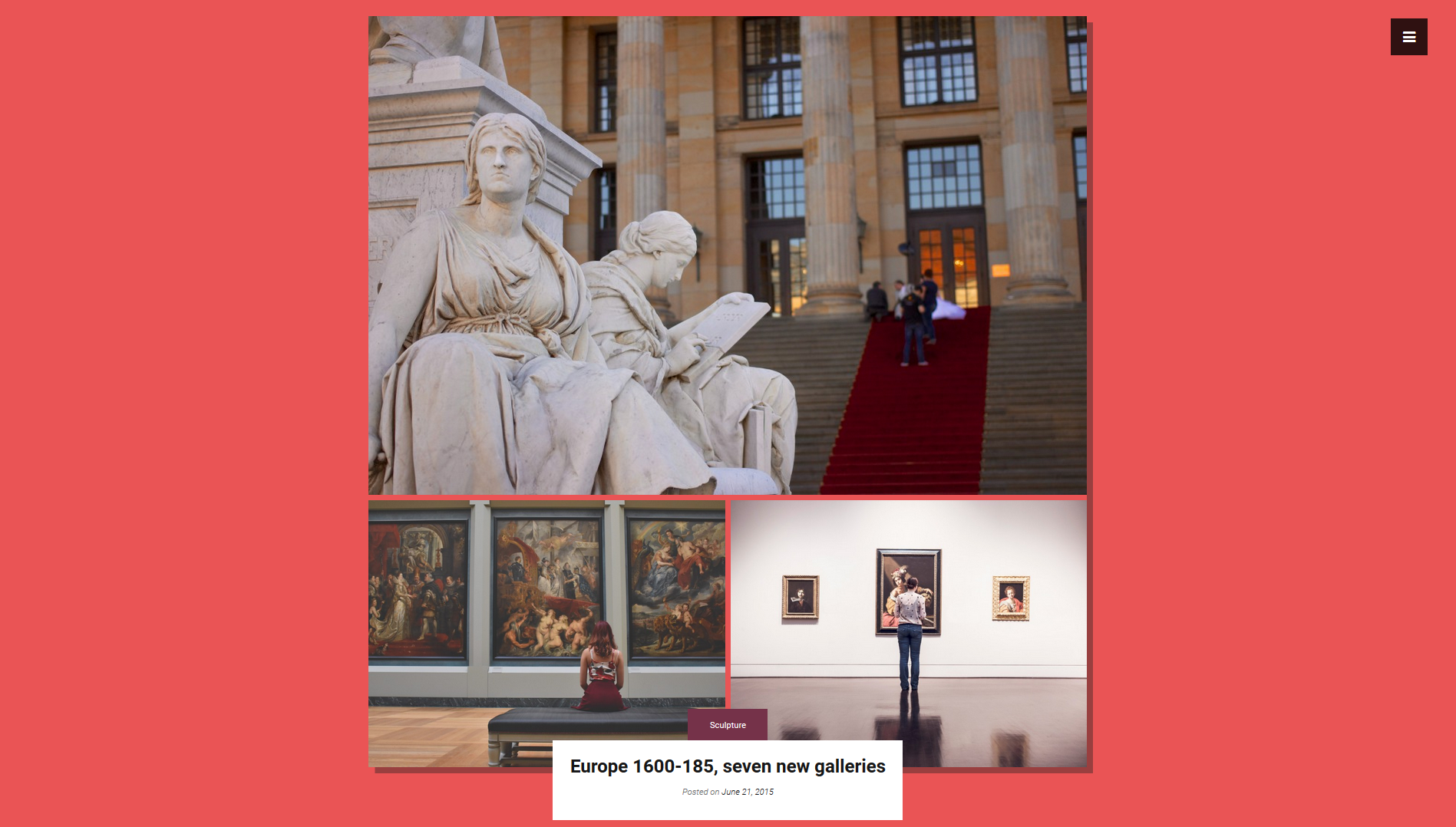 Exhibition page in one of the available colors