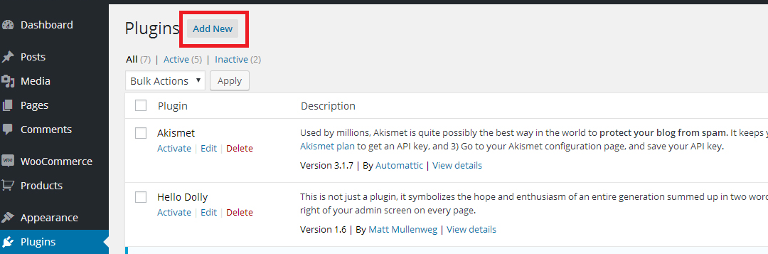 add new plugin wordpress button