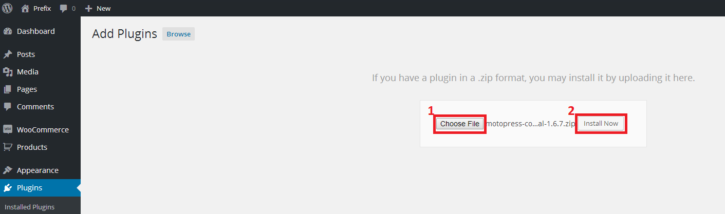 browse plugin  wordpress button