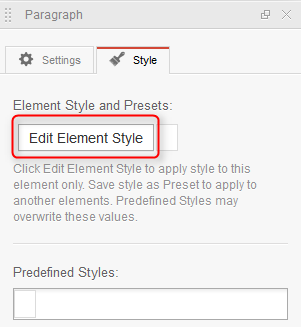 Edit element style option