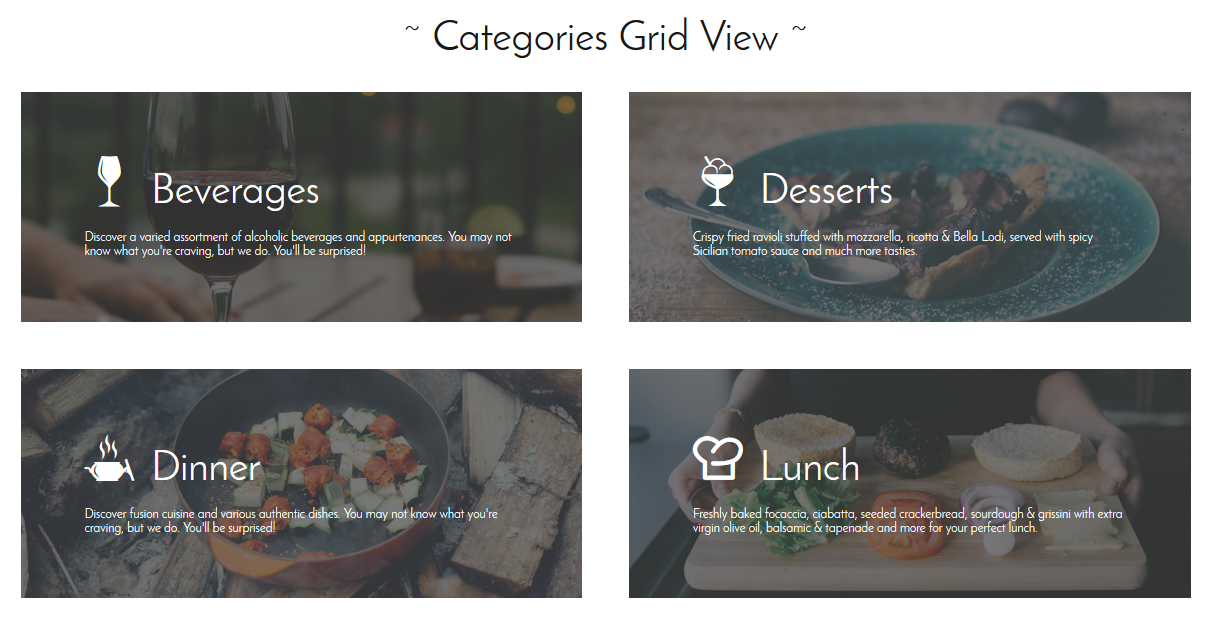 Grid view mode of menu categories
