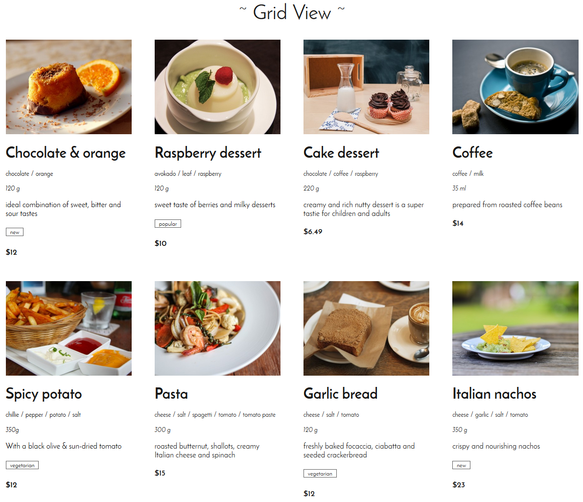 Grid view of menu items