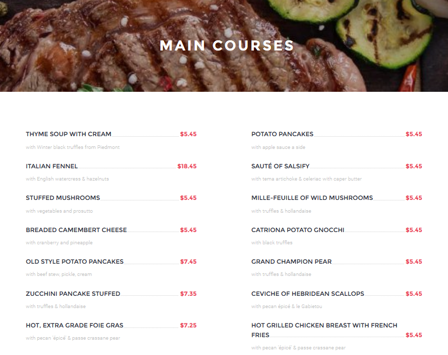 Free Restaurant Menu Plugin For Wordpress Noteworthy