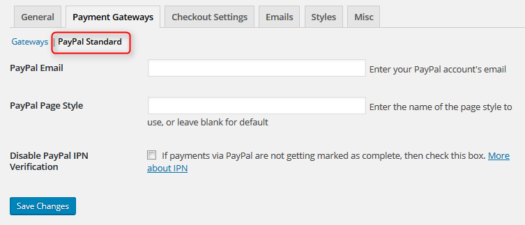 Setting PayPal Standard