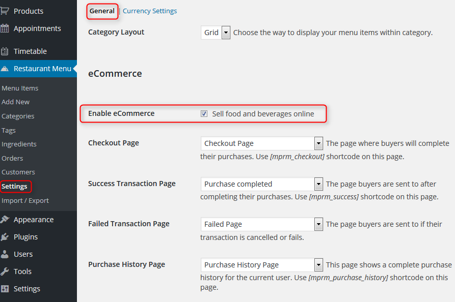 Settings Enable eCommerce