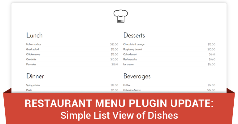 Restaurant Menu Plugin for WordPress: Flat List View