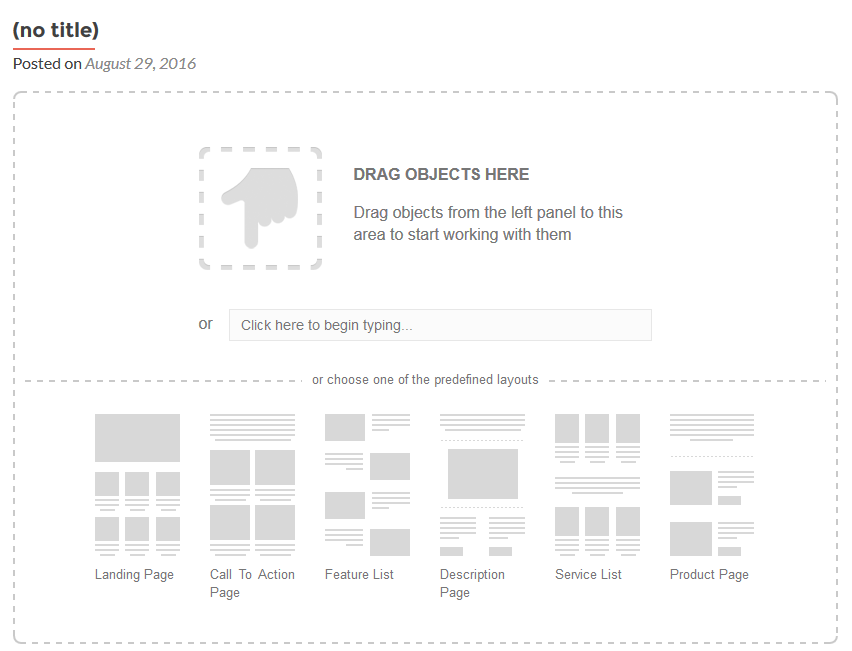 predefined layouts wordpress visual builder