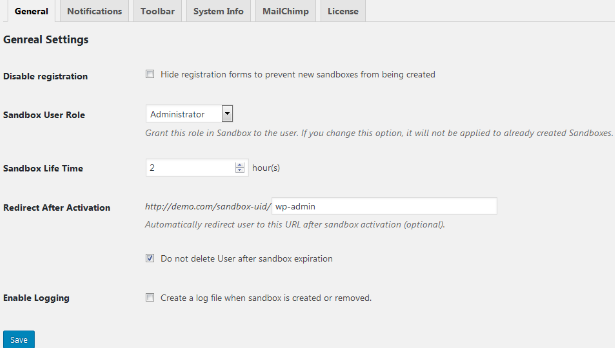wordpress demo builder settings