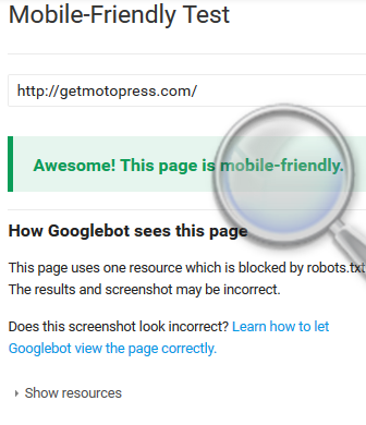 mobile-friendly google test