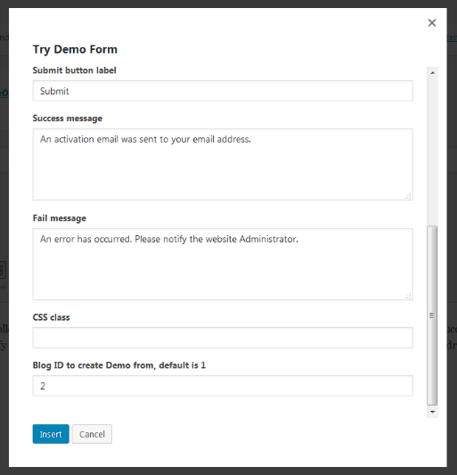 demo builder for wordpress