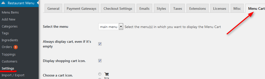 wordpress menu cart