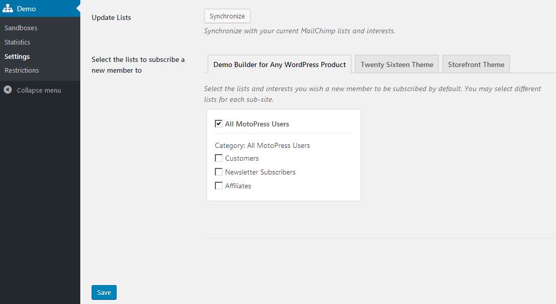 wordpress demo builder updates