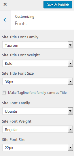 update fonts wordpress customizer