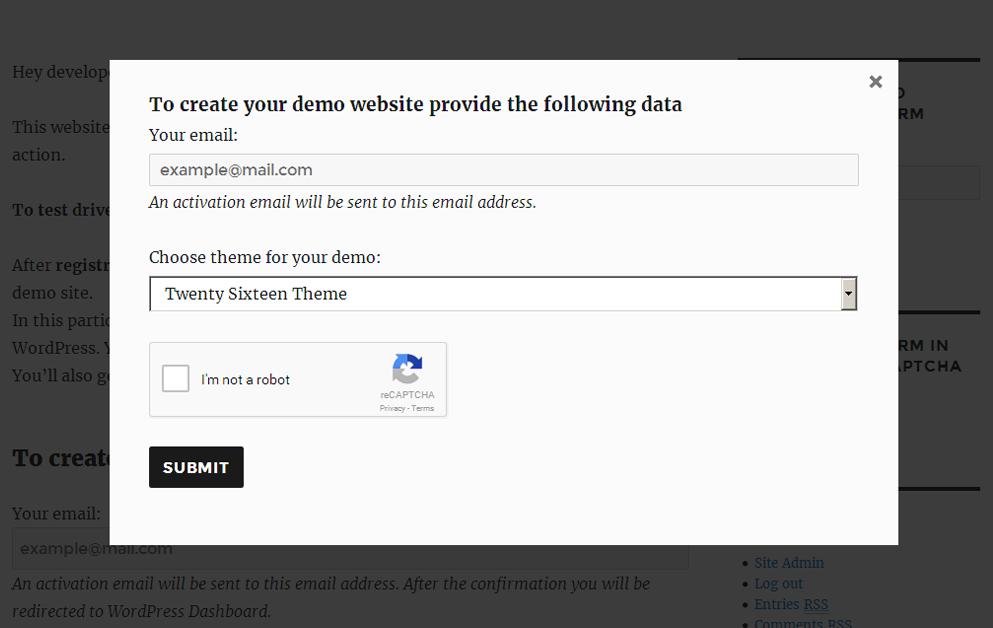WordPress Demo builder reCAPTCHA