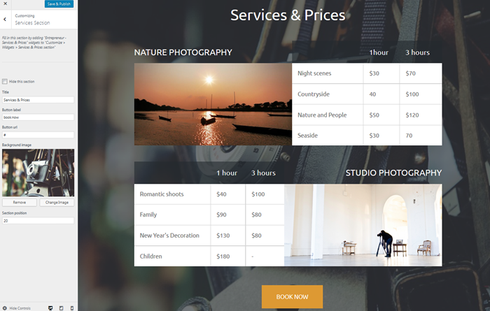services and prices wordpress