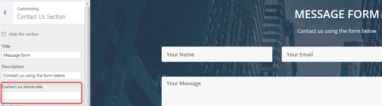 add your own contact form shortcode