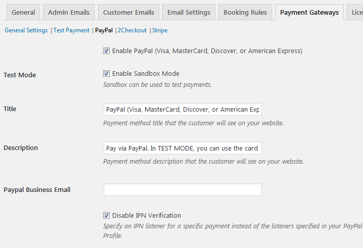 Pay via PayPal for hotel bookings wordpress plugin