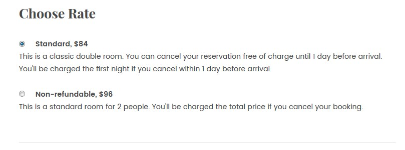 choose rates - wordpress hotel booking theme