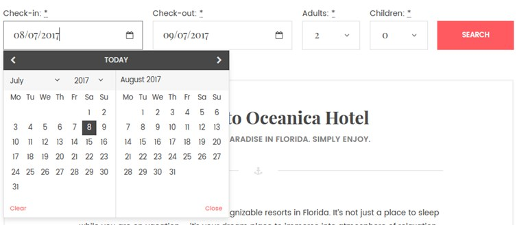 wordpress theme with online search availability for