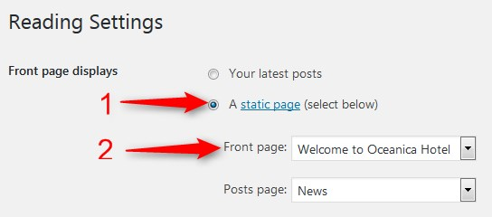 set up front page in wordpress