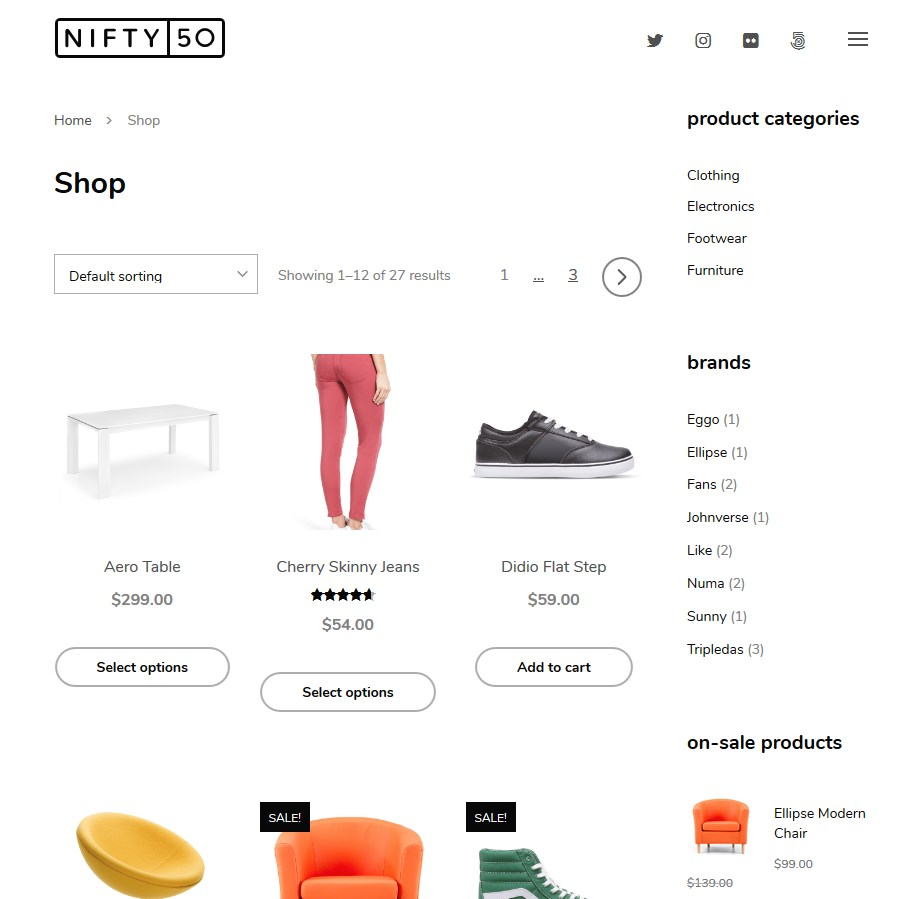 wordpress theme with a woocommerce shop