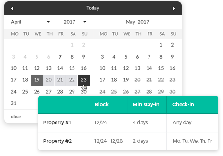 date blocking wordpress theme
