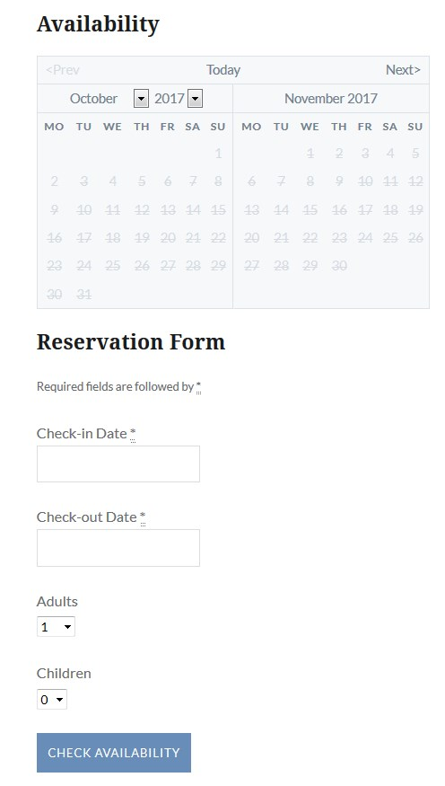 wordpress bed and breakfast hotel booking plugin