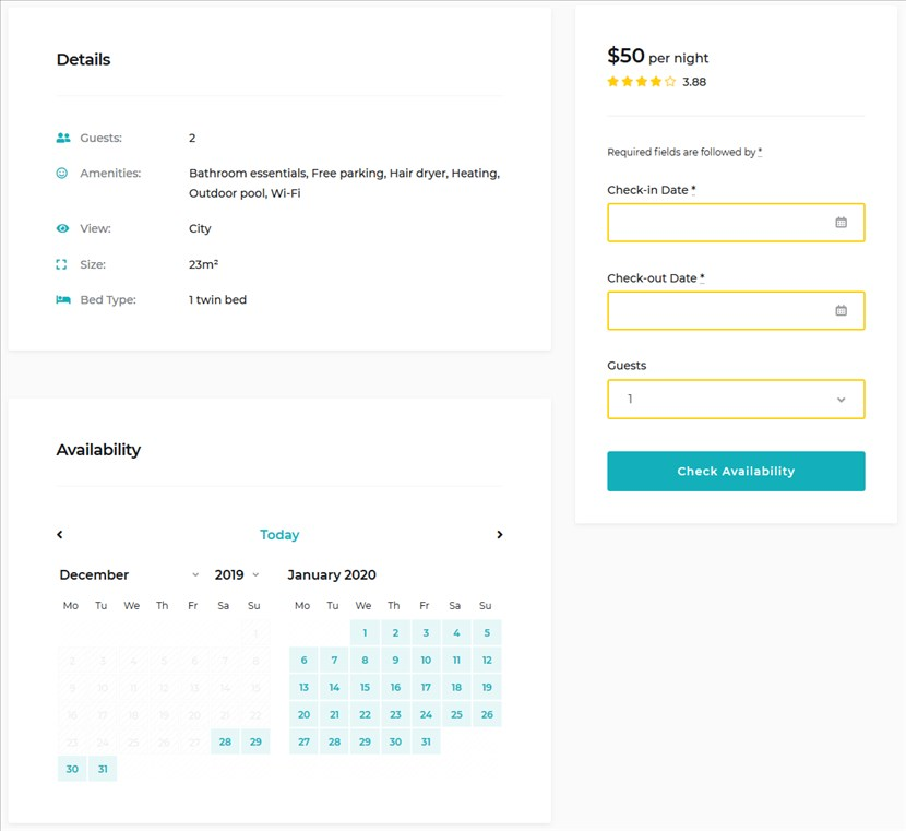 search form and calendar