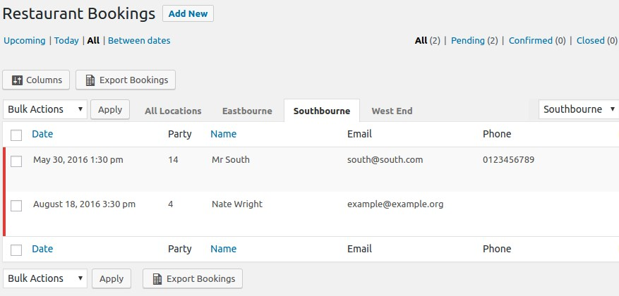 wordpress restaurant reservations