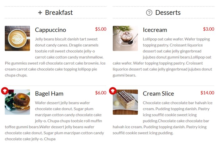 wordpress restaurant menu