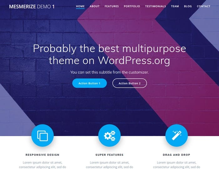 mesmerize wp theme