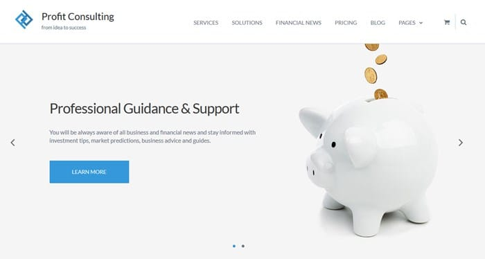 profit wordpress financial theme