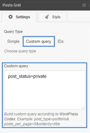 posts grid custom query