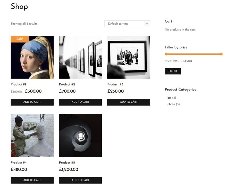 artwork woocommerce shop