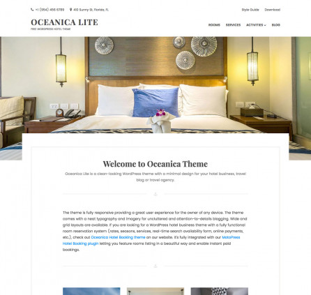 Free WordPress hotel theme