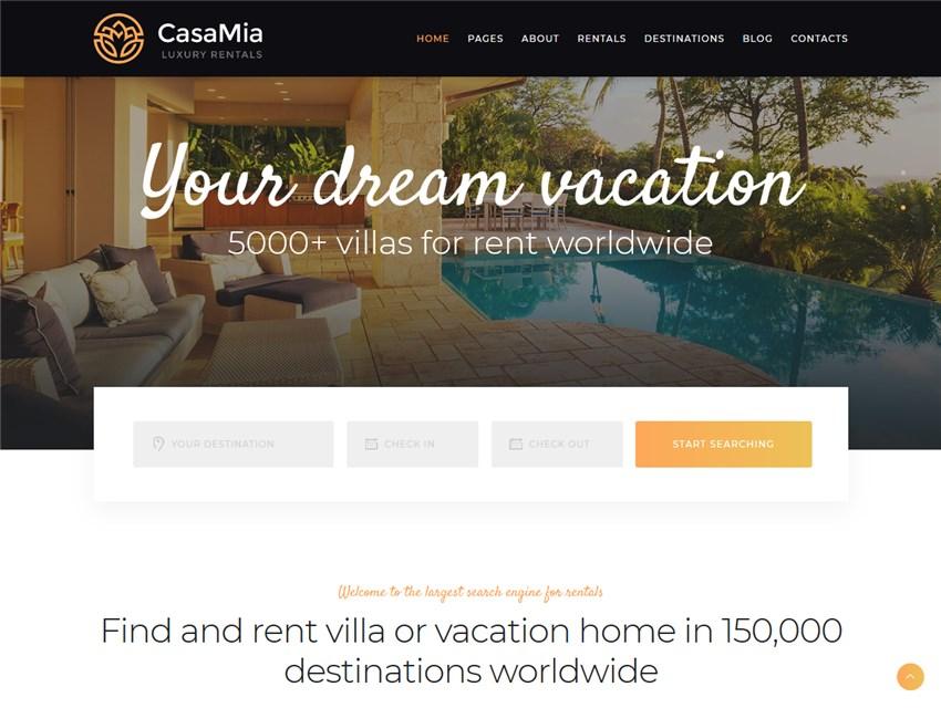casamia wordpress vacation rental theme