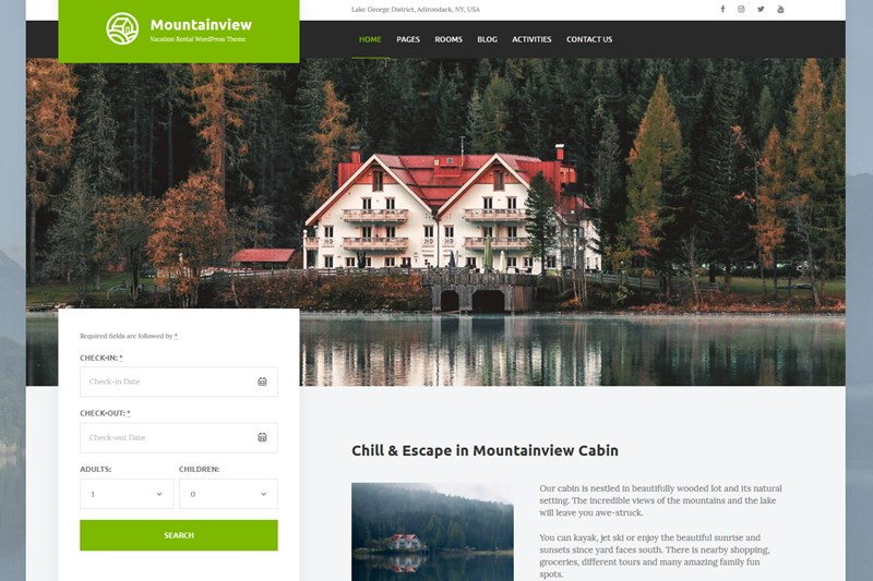 mountainview best vacation rental wordpress themes
