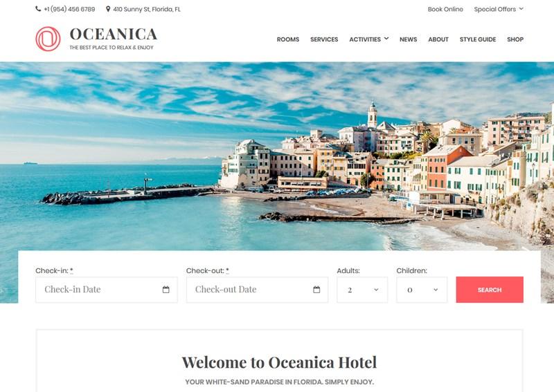 oceanica hotel wordpress theme
