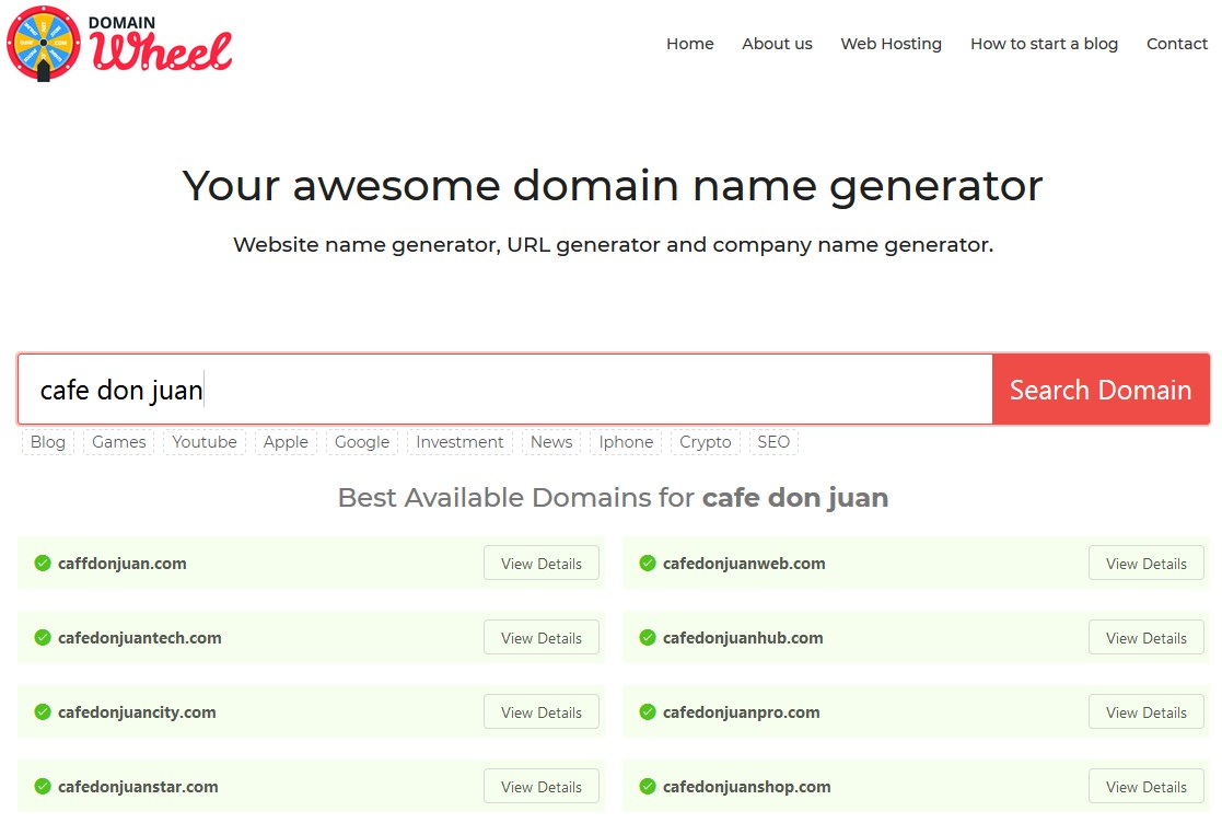 generate domain name
